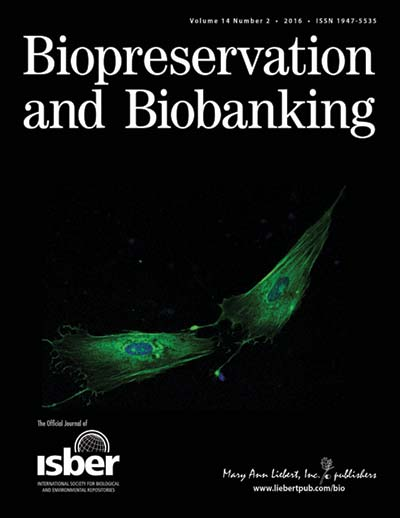 Cover for Biopreservation and Biobanking